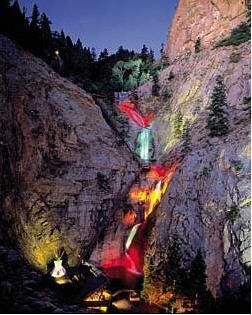 Seven Falls at Night