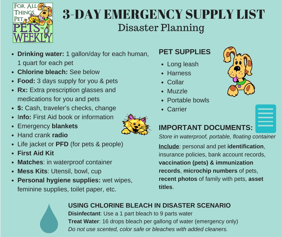 3 Day Emergency Ssupply List for Pets and People