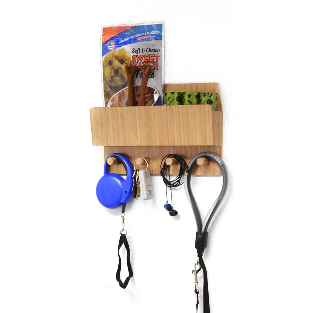 Bamboo dog leash organizer