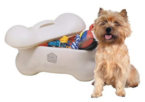 Organize dog toys with a toy bin