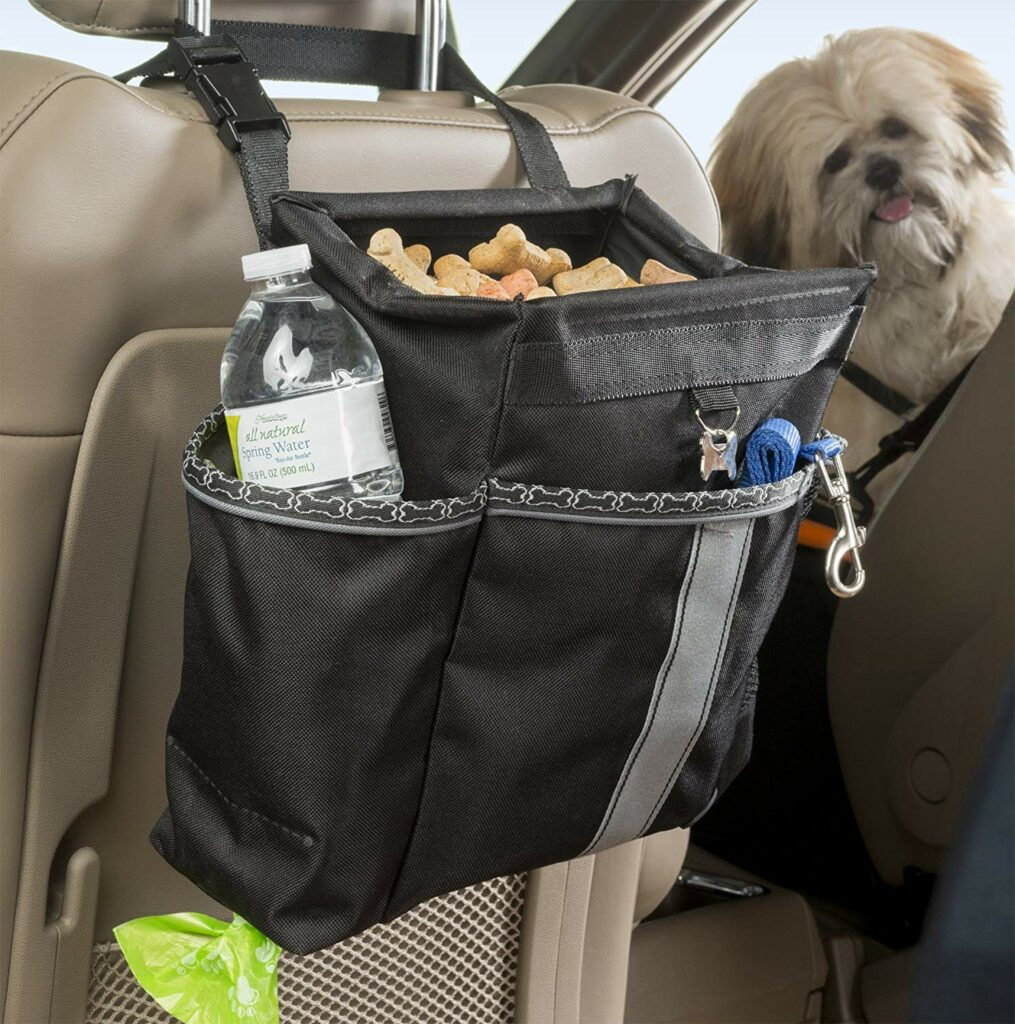Organizing dog supplies in car